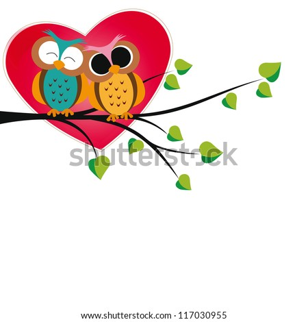 Cute and  happy owls on tree with hearts - stock vector