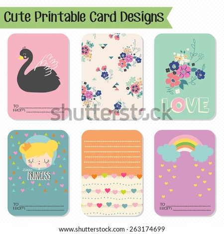 Cute and love cards, notes, stickers, labels, tags with cute ornament illustrations. Template for scrapbooking, wrapping, notebooks, notebook, diary, decals, school accessories - stock vector