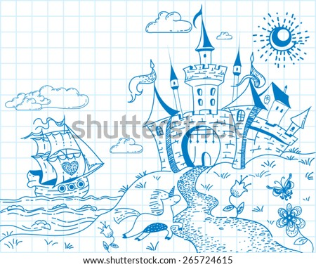 Cute and lovely hand drawn doodle ink landscape with castle, ship, sea, unicorn and flowers on the background of the notebook sheet in vector. - stock vector