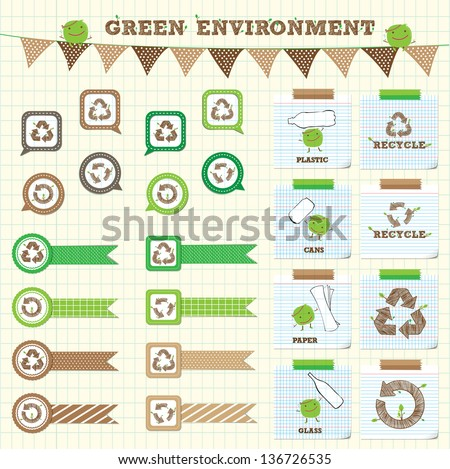 cute and lovely recycle symbol with ribbon and note paper - stock vector