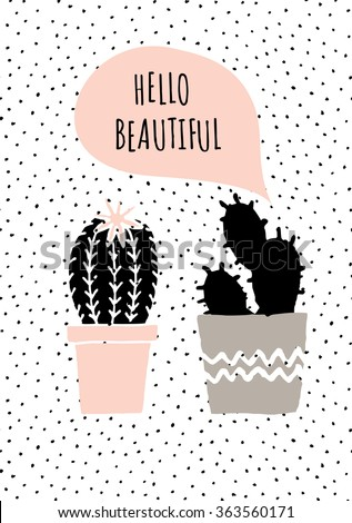 Cute and modern St. Valentine's Day greeting card template. Hand drawn cactus plants and speech bubble, dots texture background, black, white, taupe and pastel pink color palette. - stock vector