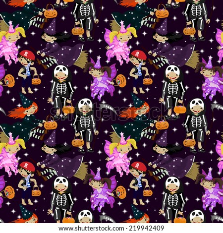 Cute and scary seamless pattern with kids dressed for Halloween  - stock vector