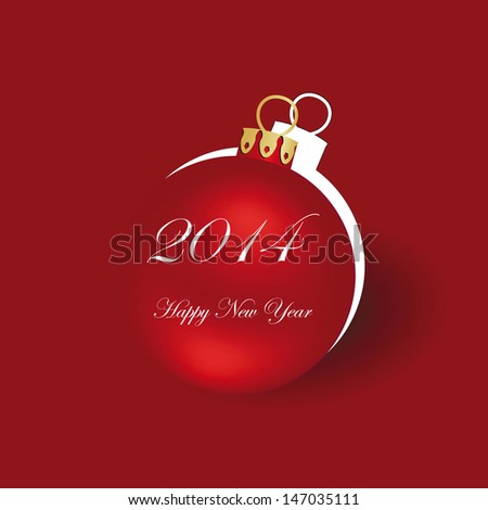 Cute and simple card on New Year 2014