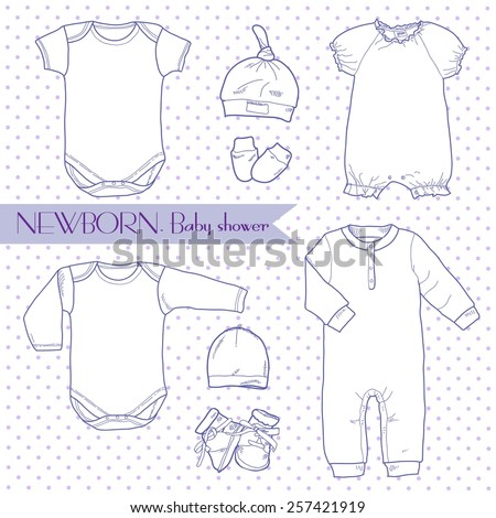 Cute and stylish set of clothes for newborns: hats, bodysuit, booties and mittens.  Suitable Clothing for newborns, posters, children's decor, and a children's holiday, baby shower. - stock vector
