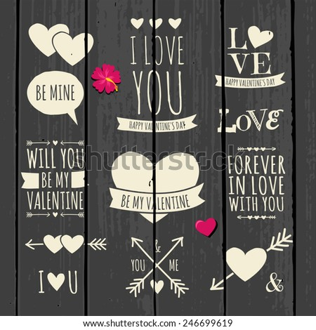 Cute and stylish typographic design elements for Valentine's Day on a gray wood background. - stock vector