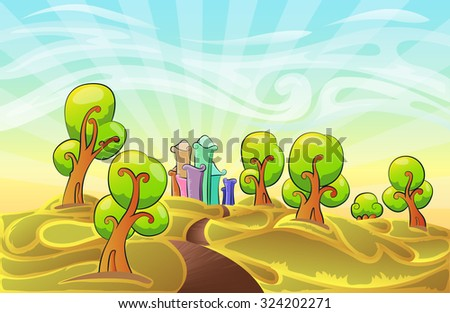 Cute and surrealist nature background cartoon illustration with road and city building  hand draw illustration - stock vector