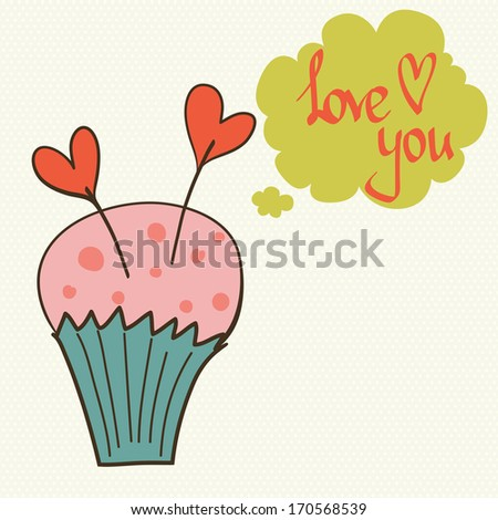 Cute and sweet invitation or greeting card template with hand drawn cartoon doodle cupcake and speech bubble on polka dot background. - stock vector