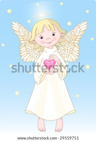 Cute Angel with a heart in hands. All levels are separate. - stock vector