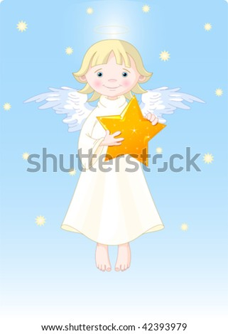 Cute Angel with Christmas star in his hands. All levels are separate. - stock vector