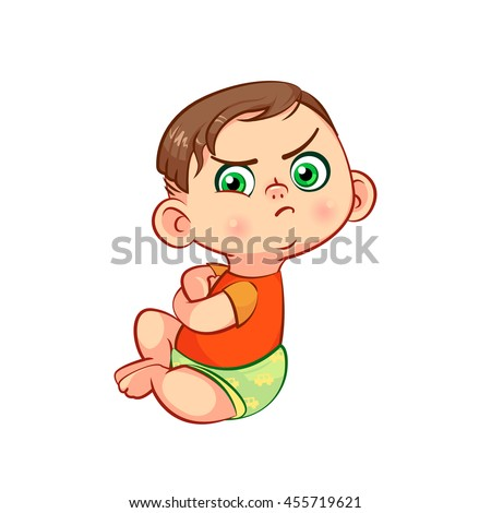 funny frowning and sitting cartoon toddler character childrens emotions - Toddler Cartoon Characters