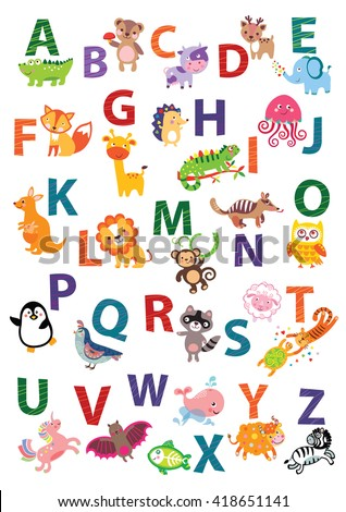 Cute animal alphabet. English Alphabet poster. Nursery Wall Art, Animal Themed, Kid's Art Decor, Gender Neutral Nursery, ABC, Children's Wall. Cute animal alphabet vector