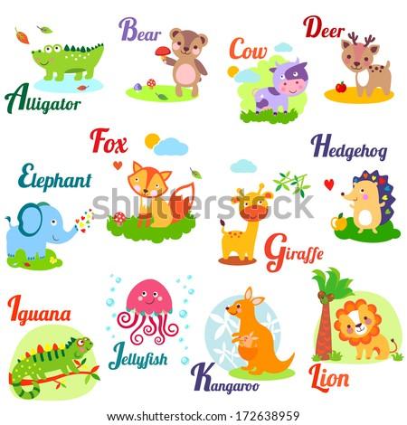 Cute animal alphabet for ABC book. Vector illustration of cartoon animals. A,b, c, d, e, f, g, h, i, j, k, l - stock vector
