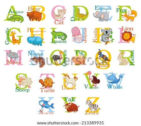 Cute animal alphabet. Funny cartoon character. A, B, C, D, E, F, G, H, I, J, K, L, M, N, O, P, Q, R, S, T, U, V, W, X, Y, Z letters - stock vector