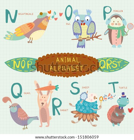 Cute animal alphabet. N, o, p, q, r, s, t letters. Nightingale, owl, penguin, quail, rabbit, sheep, turtle.Alphabet design in a colorful style. - stock vector