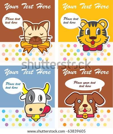 cute animal card - stock vector