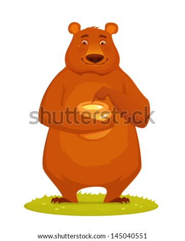 cute animal cartoon - a happy bear tasting honey