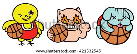 Cute Animal Characters Holding A Basketball / Vector Illustration  - stock vector