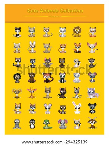Cute animal collection of 42 different species - stock vector