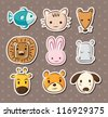 cute animal face stickers - stock vector