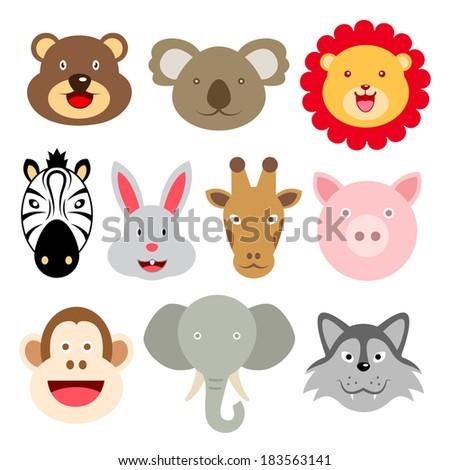 Cute Animal Faces - stock vector