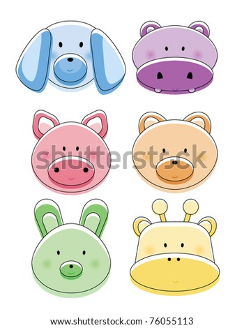 Cute animal head design - stock vector