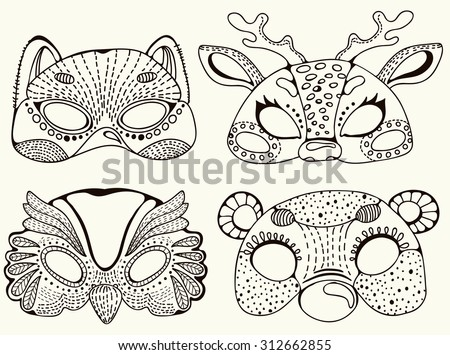 Cute animal masks. Stylish graphic design for children, colorful doodle illustration, Vector