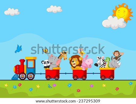 Cute animal on train - stock vector
