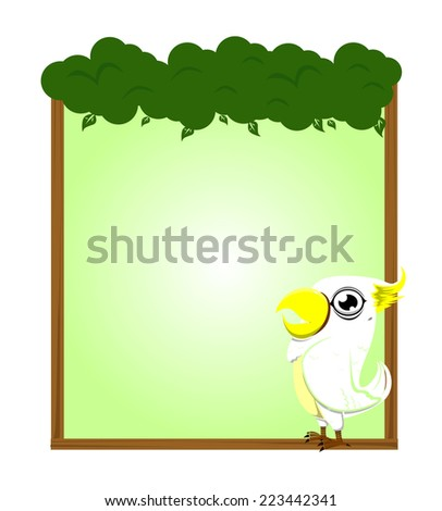 cute animal parrot blank sign and symbol vector - stock vector