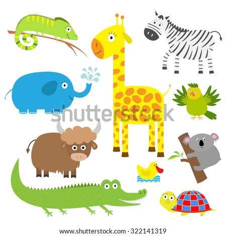 Cute animal set. Baby background. Koala, alligator, giraffe, iguana, zebra, yak, turtle, elephant, duck and parrot. Flat design Vector illustration - stock vector