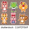cute animal stickers - stock vector