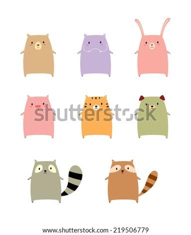 cute animal vector - stock vector