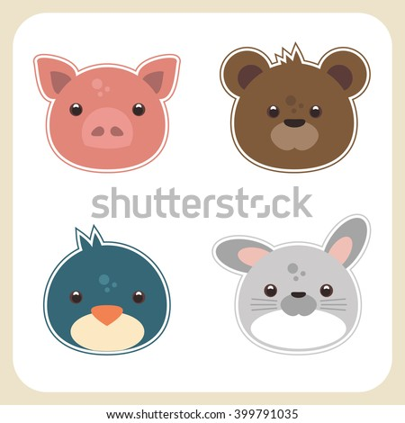 Cute animal Vector Illustrations for Children: funny pig, bird, teddy bear and bunny. - stock vector