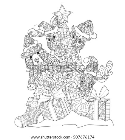 Cute Animals And Christmas Tree Gift Box For Time Zentangle Stylized Cartoon Isolated