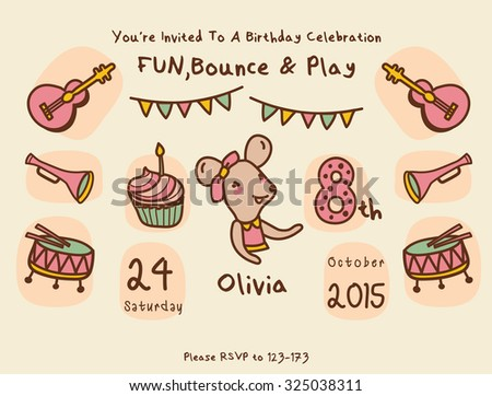Cute Animals & Birthday Party Invitation Card Template - stock vector