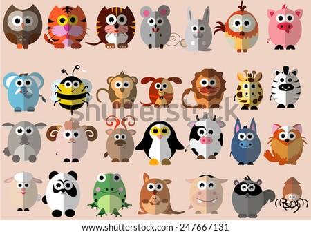 cute animals cartoon illustrator flat design  - stock vector