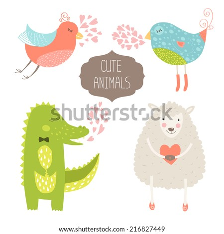 Cute animals collection. Vector illustration with birds, alligator and sheep. Love animal isolated on white background - stock vector