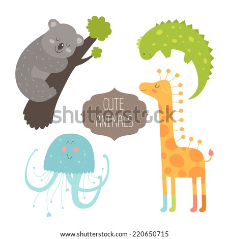 Cute animals collection. Vector illustration with koala, iguana, giraffe and jellyfish. Love animal isolated on white background - stock vector