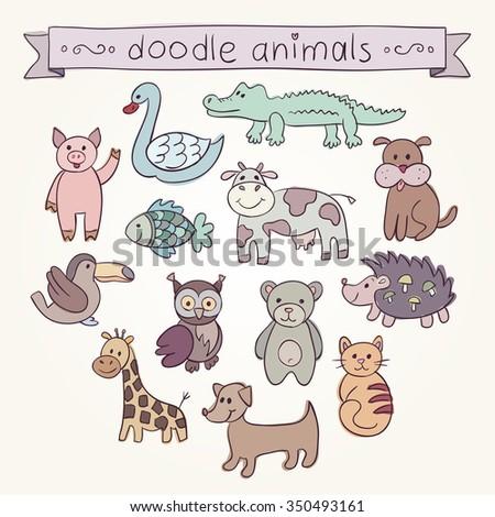 Cute Animals Doodle Set. Hand drawn swan, pig, fish, crocodile, dog, cow, hedgehog, bear, owl, bird, giraffe, dachshund, cat. Vector illustration for your cute design.           - stock vector