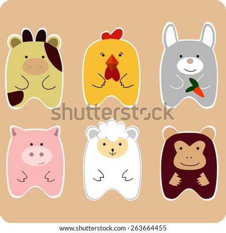Cute animals. Drawing of set of cute animals for children - cow, chicken, bunny, piggy, monkey, lamb - stock vector