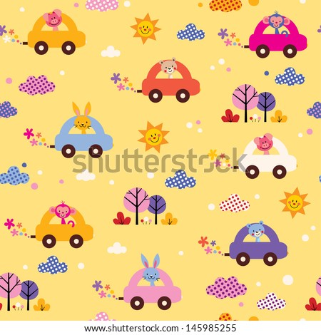 cute animals driving cars kids pattern