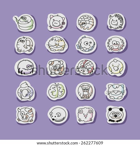 Cute animals flat  circle  set. Vector hand drawn  illustrations. - stock vector