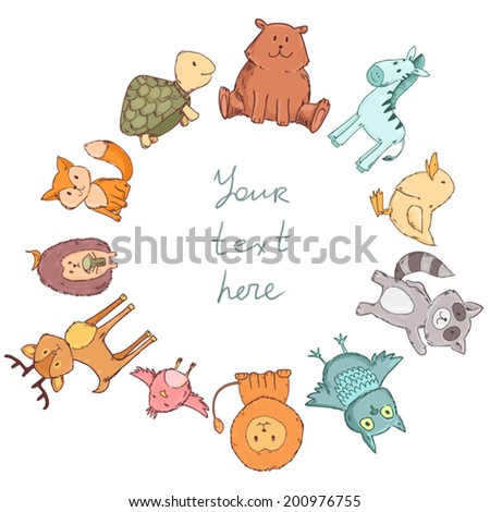Cute animals frame with space for text. Vector illustration isolated on white - stock vector