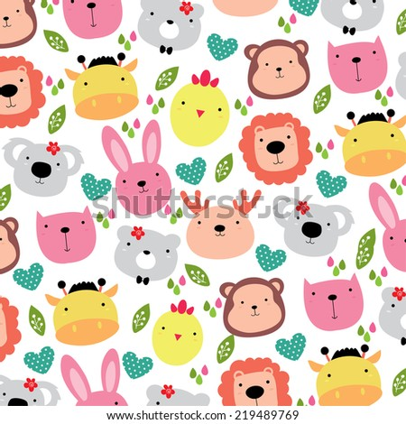 cute animals head background design - stock vector
