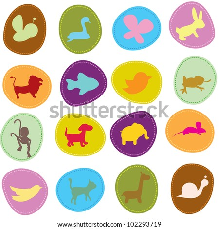 cute animals icons for zoo, wildlife, pets and other theme - stock vector