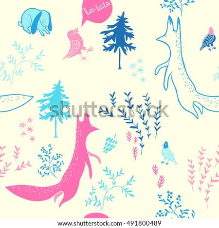 Cute animals in forest. Seamless pattern. Hand drawn illustration with fox,bunny,  birds and floral elements. Natural design vector background.