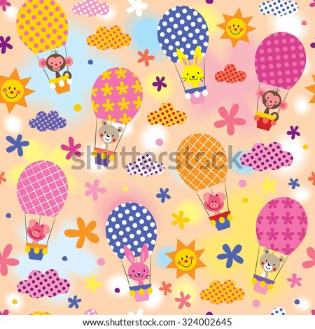 cute animals in hot air balloons - stock vector