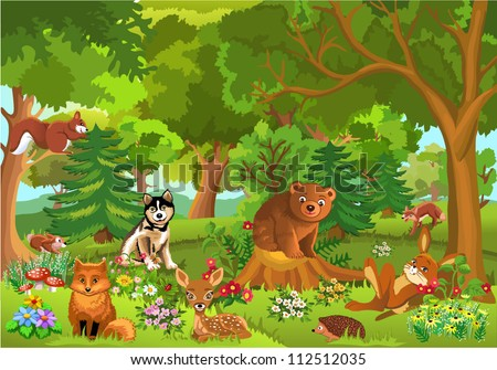 cute animals in the forest - stock vector