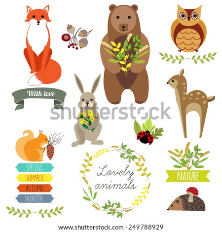 Cute animals. Label, frame with flowers. Seasons. - stock vector