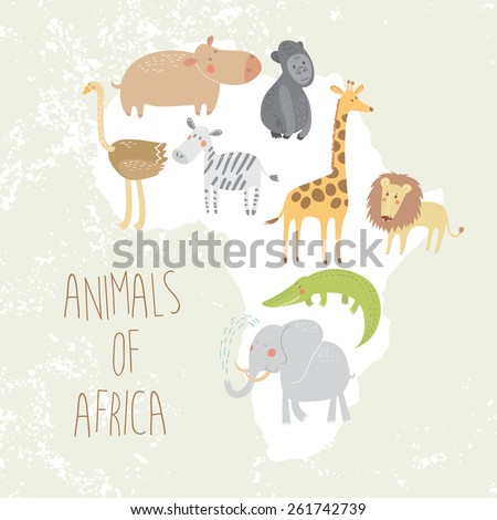Cute animals of Africa, elephant, hippopotamus, crocodile, lion, gorilla, ostrich, giraffe, zebra in vector. - stock vector