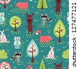 Cute animals seamless pattern - stock vector